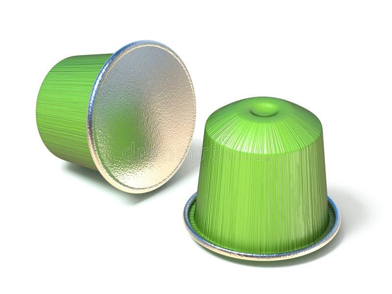 Zielone kawowe kapsuły 3D ilustracji