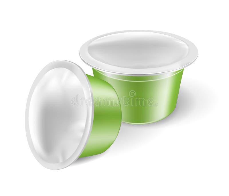 Zielone kawowe kapsuły dla kawowych maszyn ilustracji