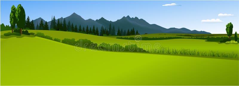 zielone krajobrazowe góry ilustracji