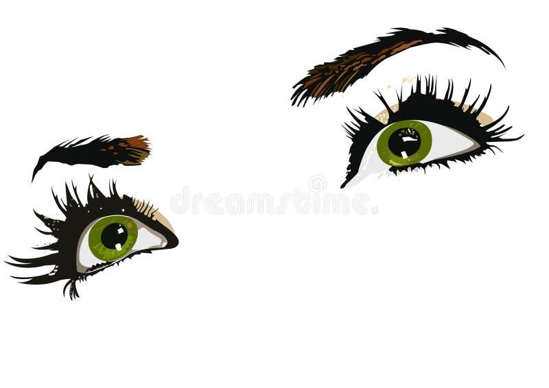 zielone oczy kobiety. royalty ilustracja