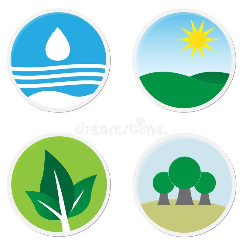 Zielone płaskie ikony royalty ilustracja