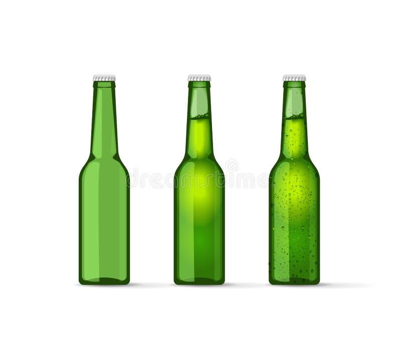 Zielone piwne butelki ustawiać z bąblami, folującymi i opróżniają ilustracja wektor