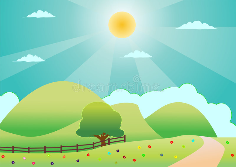 zielone pola samotne drzewo ilustracja wektor