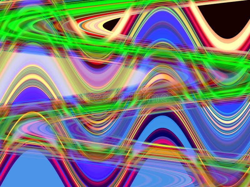 Zielone purpurowe błękitne rzadkopłynne linie, geometrii tło, grafika, abstrakcjonistyczny tło i tekstura, ilustracja wektor