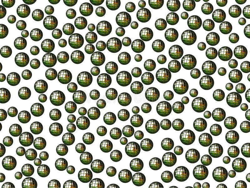 Zielone sfery z kwadratami na białym tle obrazy stock
