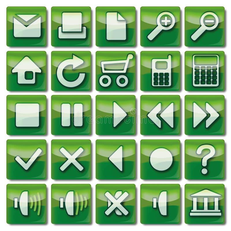 Zielone sieci ikony 1-25 royalty ilustracja