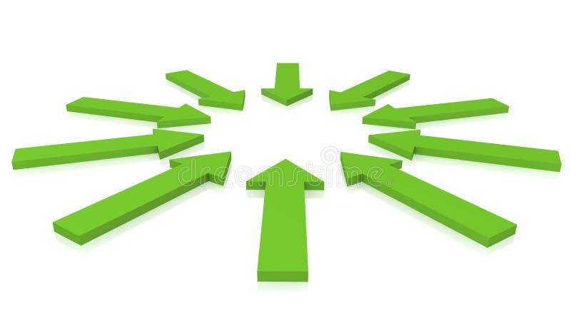 Zielone strzała royalty ilustracja