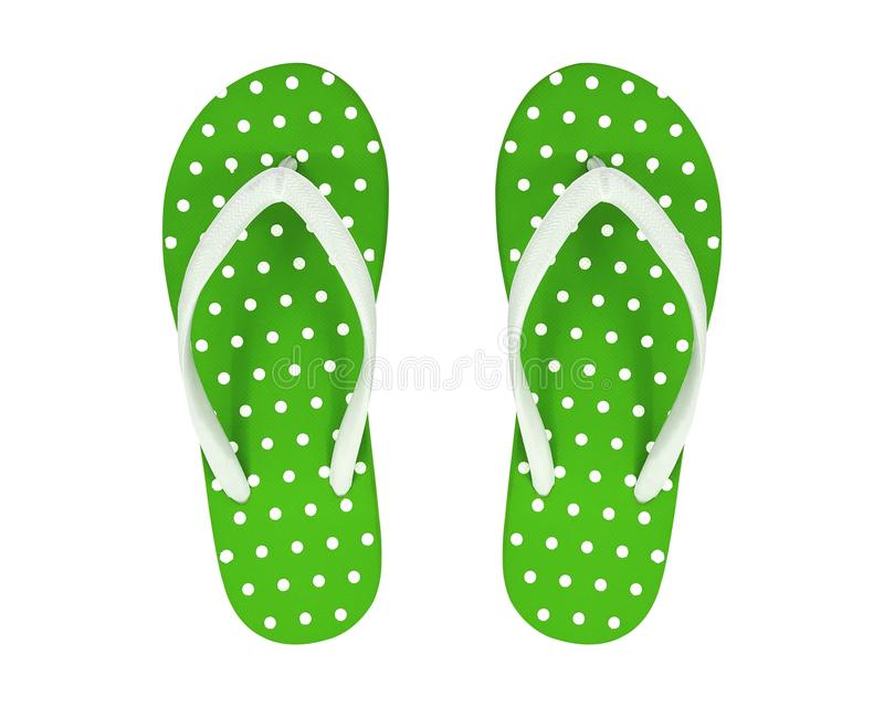 Zielone trzepnięcie klapy Odizolowywać na Białym tle Polek kropek sandały Ścinek ścieżka zdjęcia royalty free