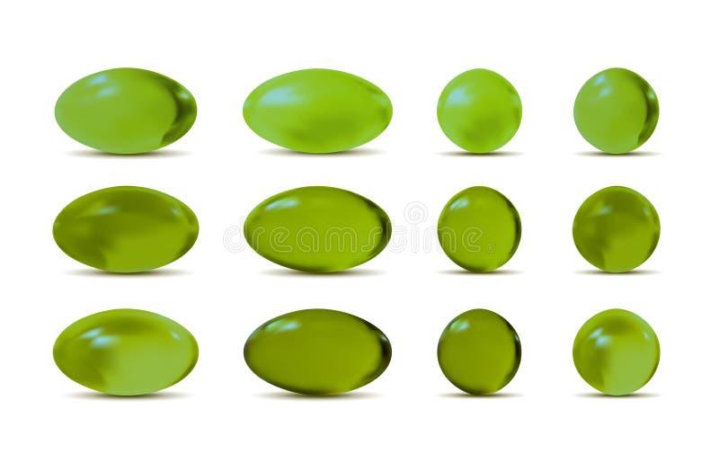 Zielone wektoru 3d pigułki royalty ilustracja