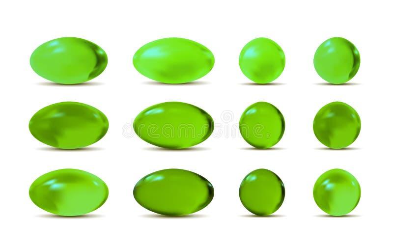 Zielone wektoru 3d pigułki ilustracji