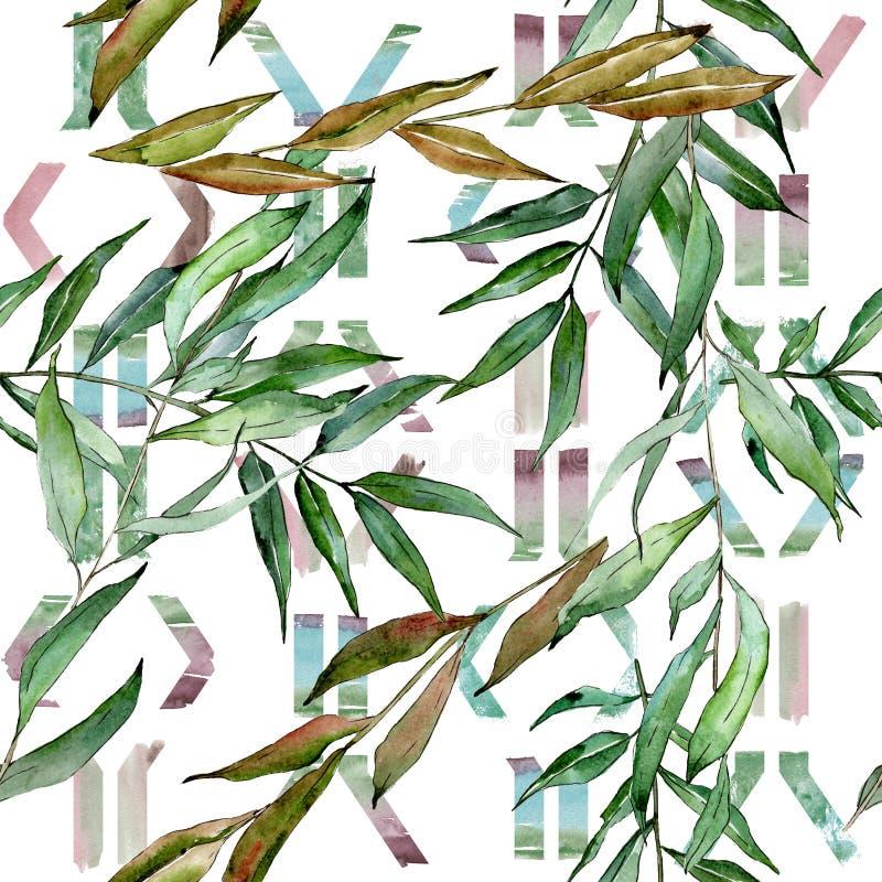 Zielone wierzb gałąź Akwareli t?a ilustracji set Bezszwowy t?o wz?r royalty ilustracja