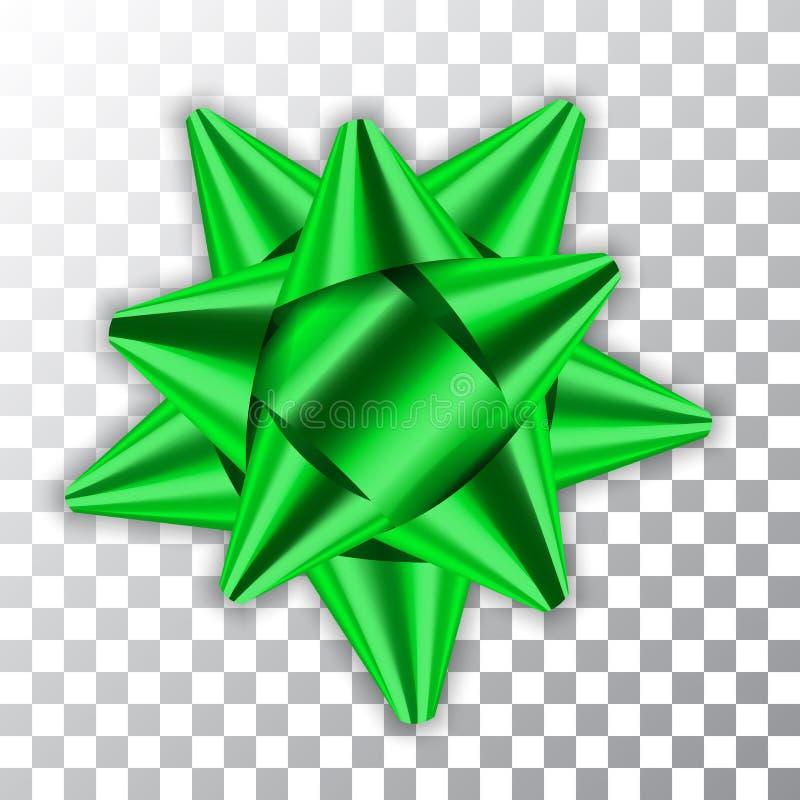 Zielonego łęku 3d wystroju elementu pakunku tasiemkowego Błyszczącego koloru dekoraci prezenta atłasowa teraźniejszość odizolowyw ilustracja wektor
