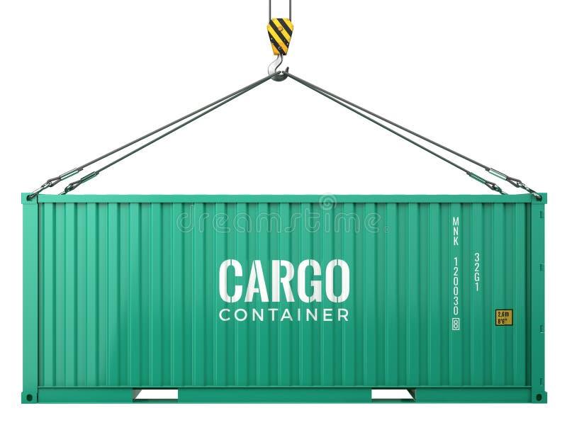 Zielonego ładunku frachtowy kontener odizolowywający na białym tle ilustracja wektor