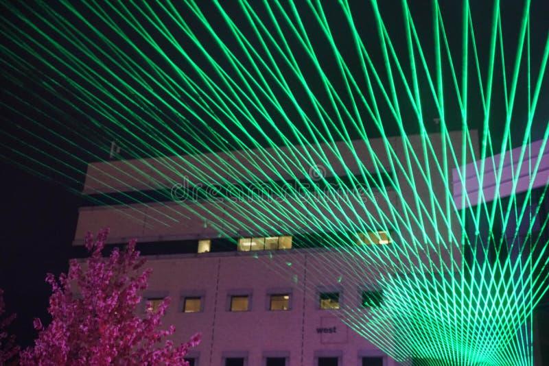 Zielonego światła laseru wakacyjny przedstawienie obrazy stock
