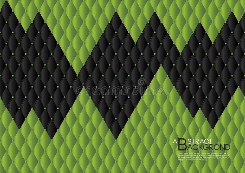 Zielonego abstrakcjonistycznego tła wektorowa ilustracja, okładkowego szablonu układ, biznesowa ulotka, Rzemienna tekstura royalty ilustracja