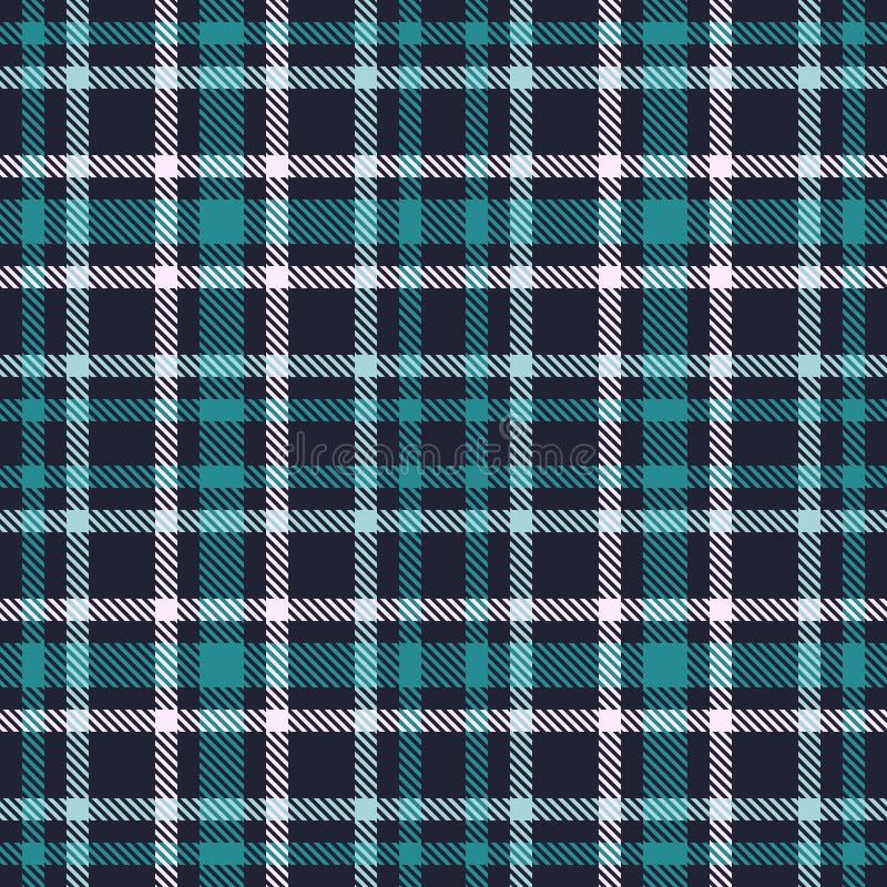 Zielonego Błękitnego tartanu wektoru bezszwowy wzór W kratkę szkockiej kraty tekstura Geometrical kwadratowy tło dla tkaniny royalty ilustracja