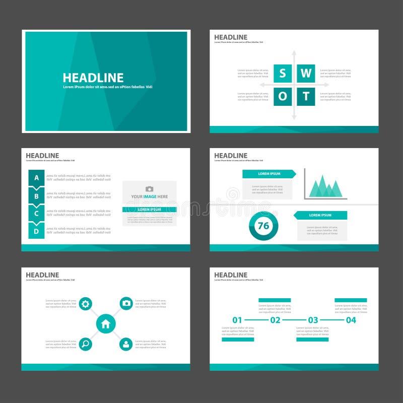 Zielonego błękitnego wieloboka infographic element i ikony prezentaci szablonów płaski projekt ustawiamy dla broszurki ulotki ulo royalty ilustracja