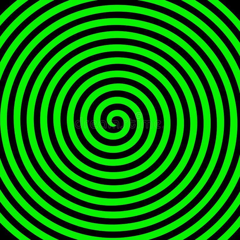 Zielonego czarnego round abstrakcjonistycznego vortex hipnotyczna ślimakowata tapeta royalty ilustracja