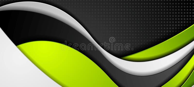 Zielonego czerni popielaty abstrakcjonistyczny falisty korporacyjny sztandar ilustracji