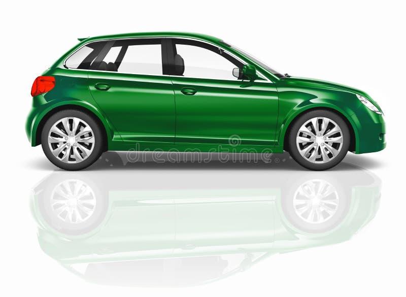 Zielonego 3D Hatchback Samochodowa ilustracja Odizolowywająca royalty ilustracja