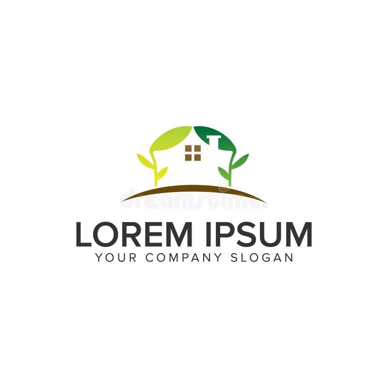 Zielonego domu logo projekta poj?cia szablon royalty ilustracja