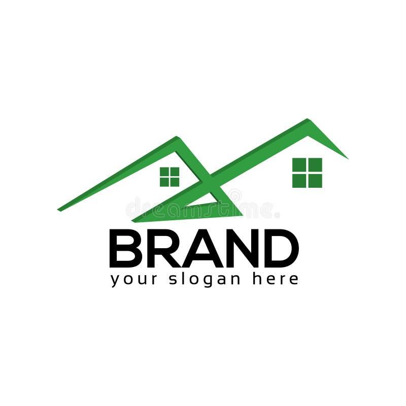 Zielonego domu logo szablon, Wektorowa ilustracja ilustracja wektor