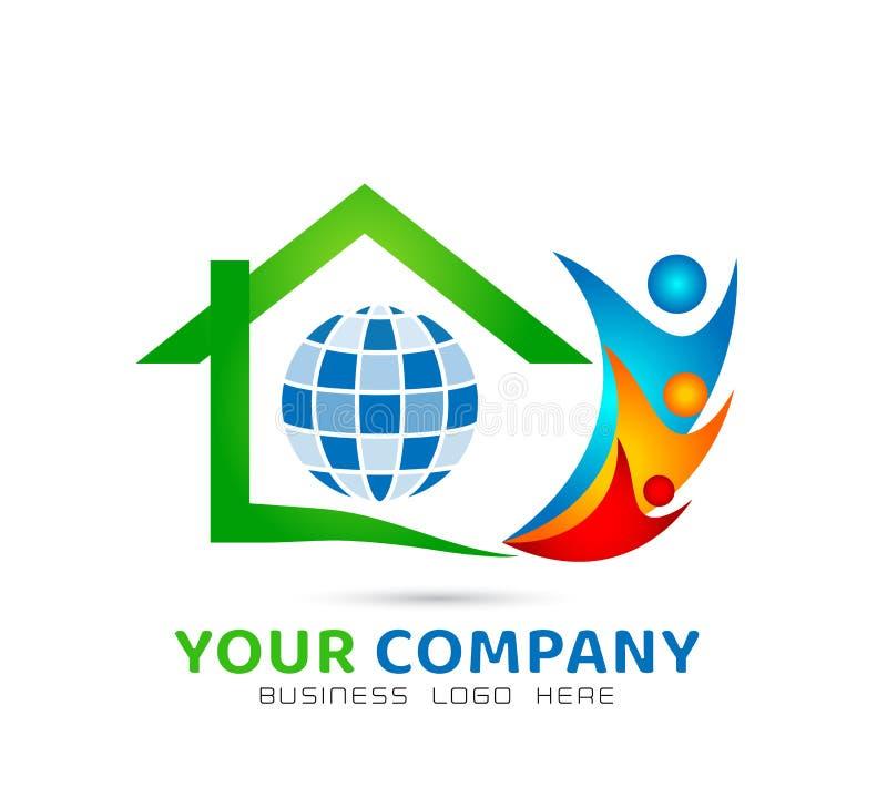 Zielonego domu społeczności modela abstrakt, rodziny wpólnie nieruchomości logo wektor royalty ilustracja