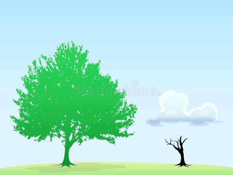 Zielonego drzewa ans suchy drzewo ilustracji