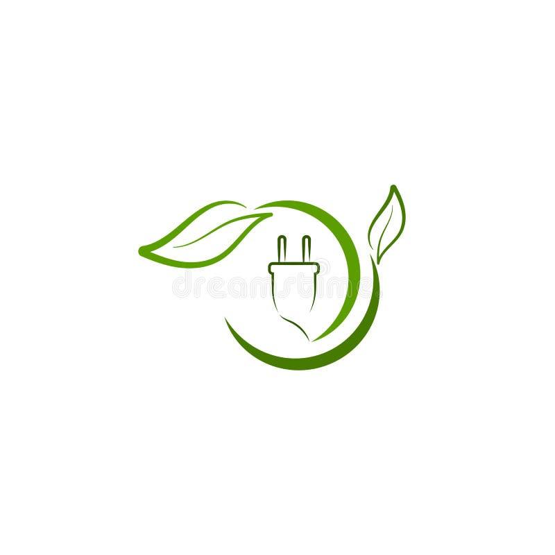 Zielonego eco energetyczny logo z liściem i władzy prymką royalty ilustracja