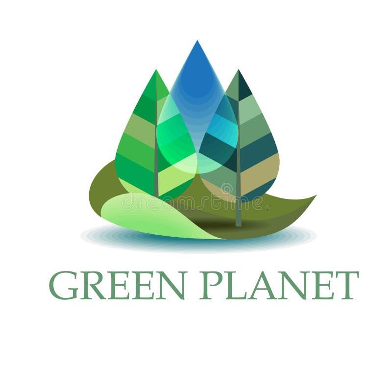 Zielonego flanca krajobrazu ikony lub loga projekta Rolnicza kolekcja Nad bielem royalty ilustracja