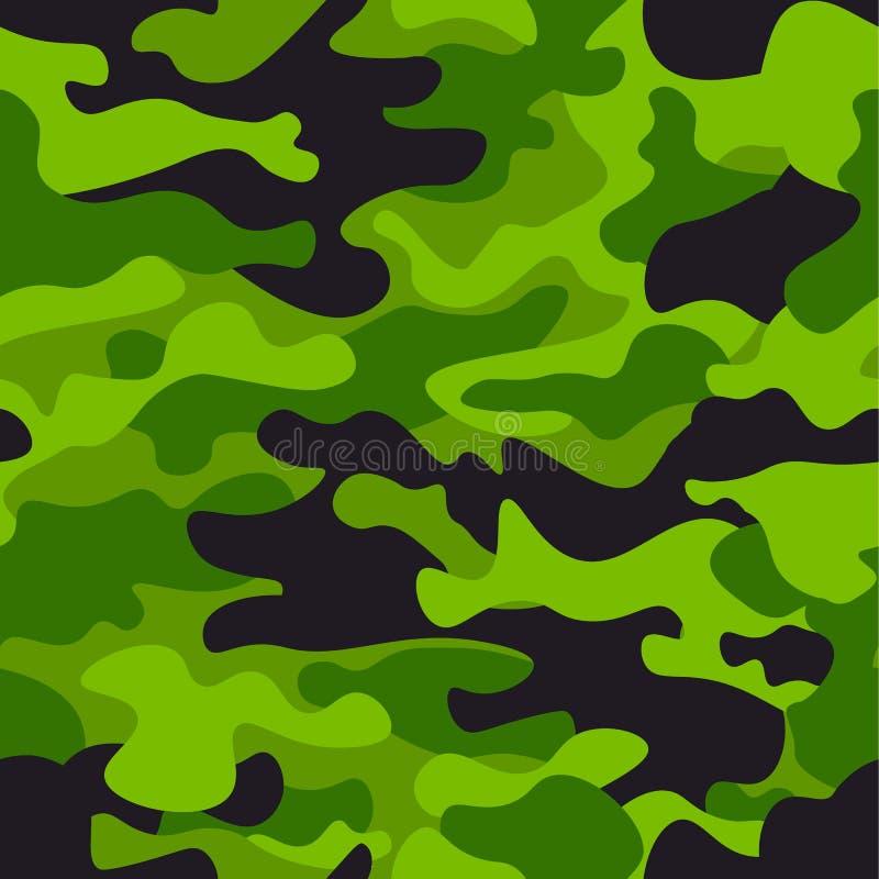 Zielonego kamuflażu bezszwowy deseniowy tło Klasycznej odzieży camo powtórki stylowy maskuje druk Zielenieje, wapni, czarnej oliw royalty ilustracja