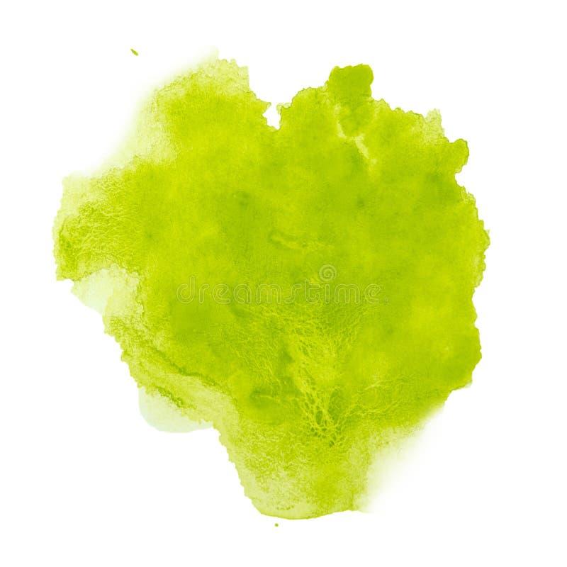 Zielonego koloru pluśnięcia akwareli ręka malował odosobnionego na białym tle obrazy royalty free