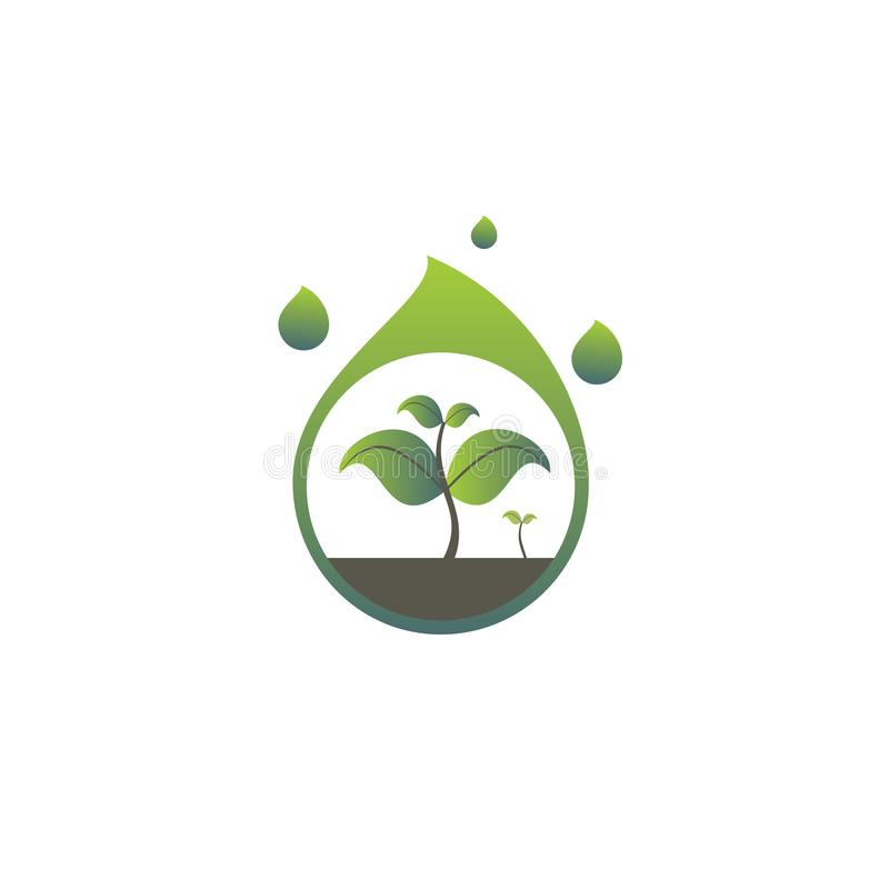 Zielonego koloru podeszczowej wody ilustracja z odżywianiem zdjęcia stock