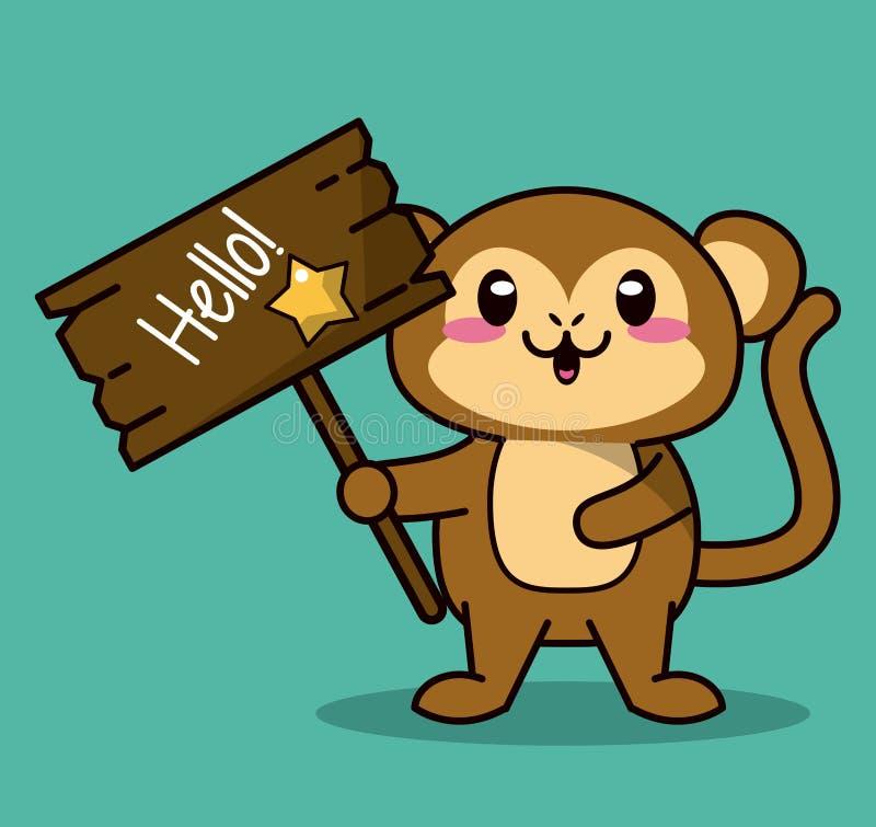 Zielonego koloru tło z śliczną kawaii zwierzęcia małpy pozycją z drewnianym znakiem i gwiazdą cześć ilustracja wektor