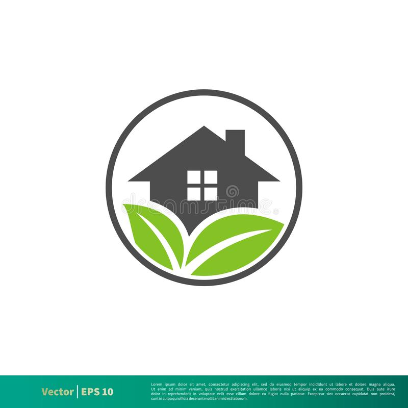 Zielonego liścia domu ikony logo Wektorowego szablonu Ilustracyjny projekt Wektor EPS 10 ilustracji