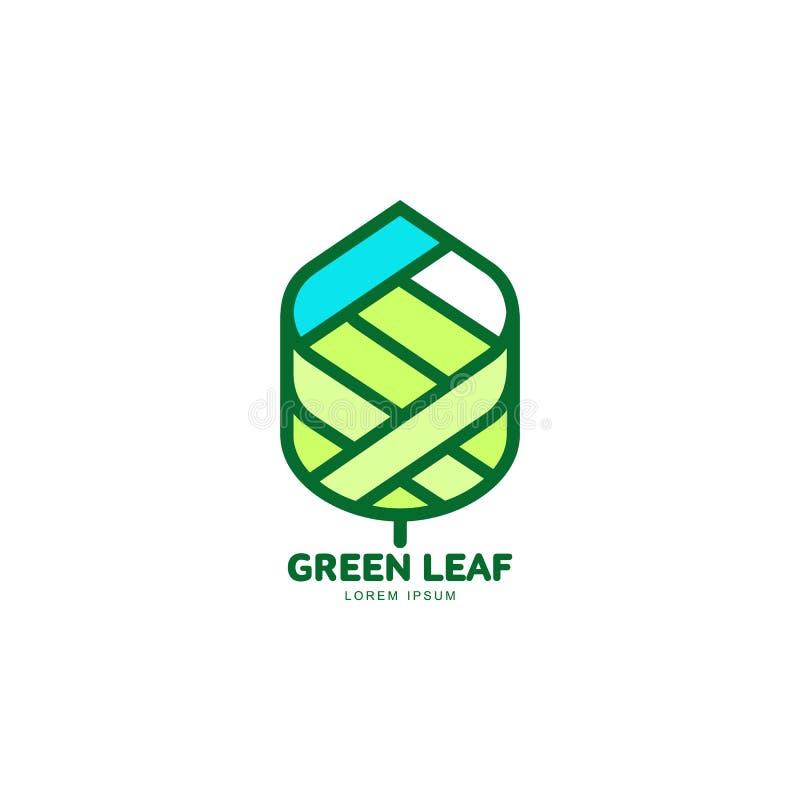 Zielonego liścia loga narastający up szablon, wektorowa ilustracja ilustracji