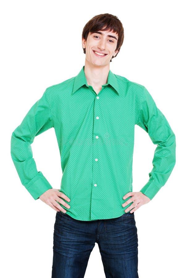 zielonego mężczyzna koszula smiley zdjęcie royalty free