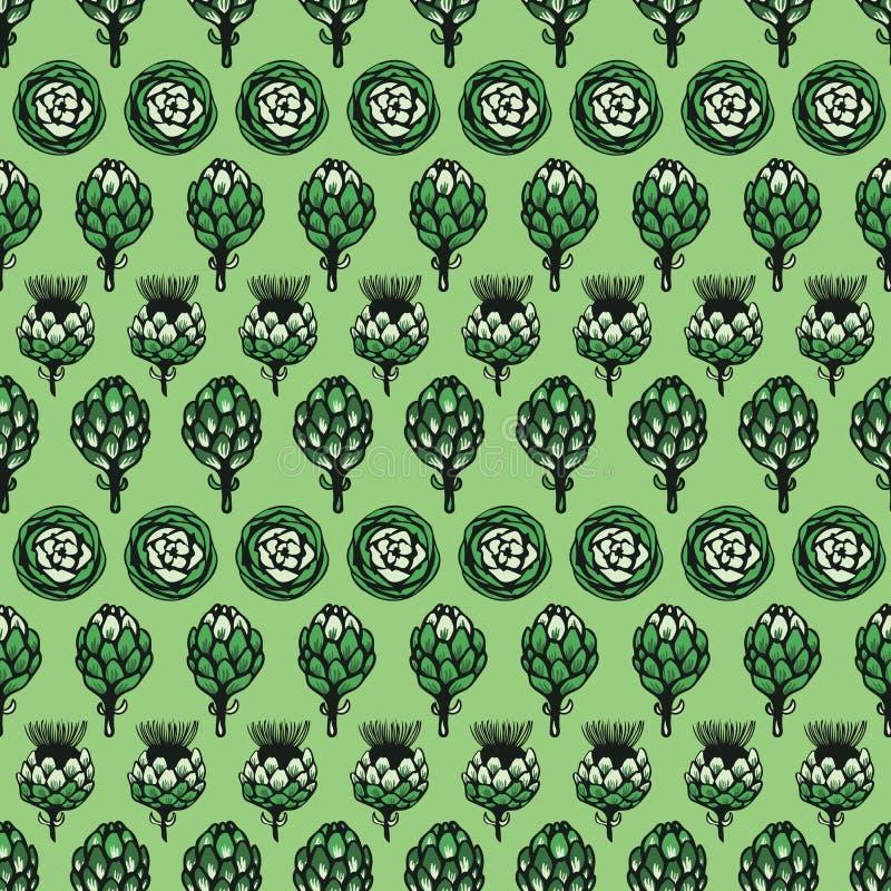 Zielonego monochromatycznego horyzontalnego wektorowego karczocha kwiatu tekstury wzoru bezszwowy tło zdjęcie stock