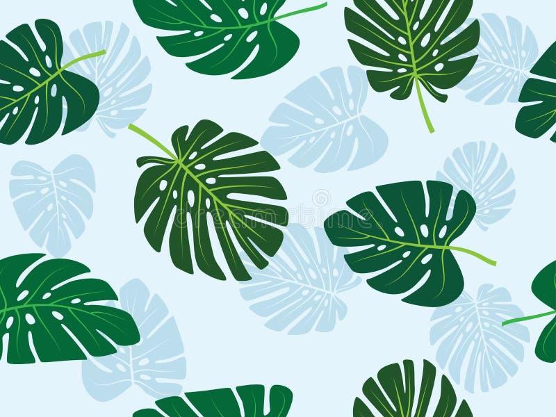 Zielonego monstera liścia wektorowego tropikalnego tematu bezszwowy wzór ilustracja wektor