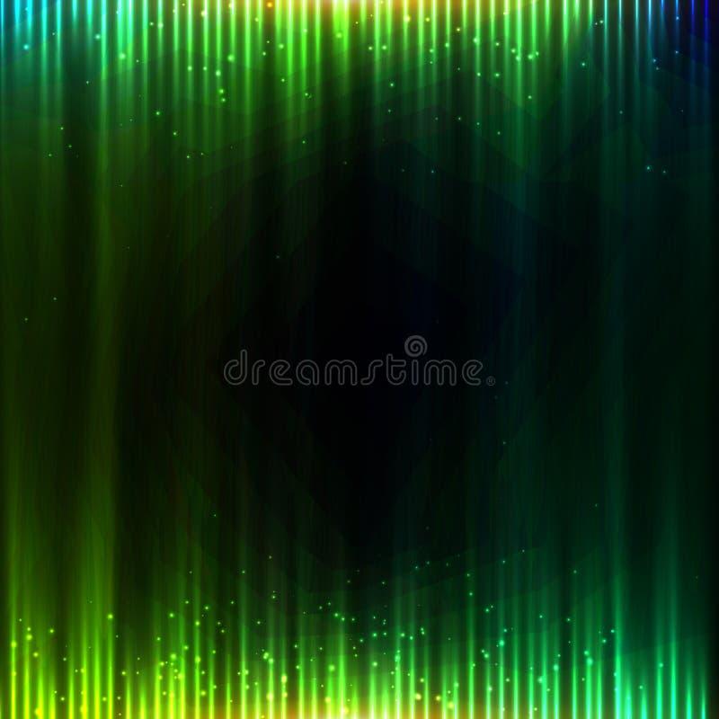 Zielonego olśniewającego wyrównywacza wektorowy abstrakcjonistyczny tło ilustracji