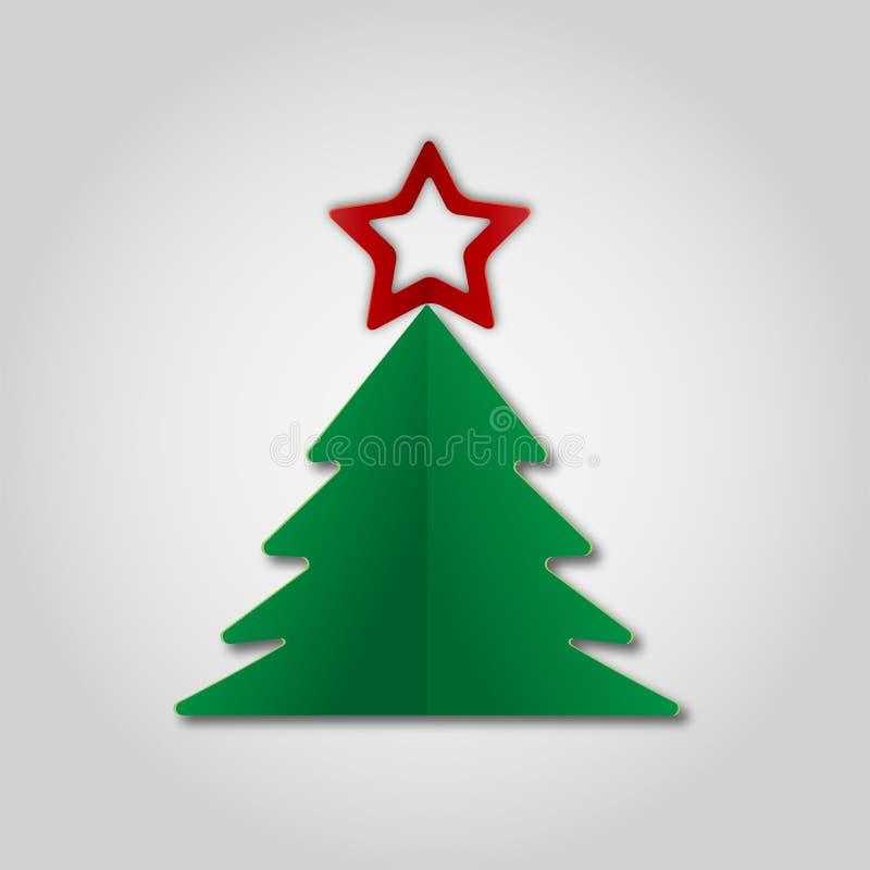 Zielonego papieru choinki witn czerwieni gwiazda na szarym tle Projekt?w elementy dla wakacyjnych kart r?wnie? zwr?ci? corel ilus royalty ilustracja