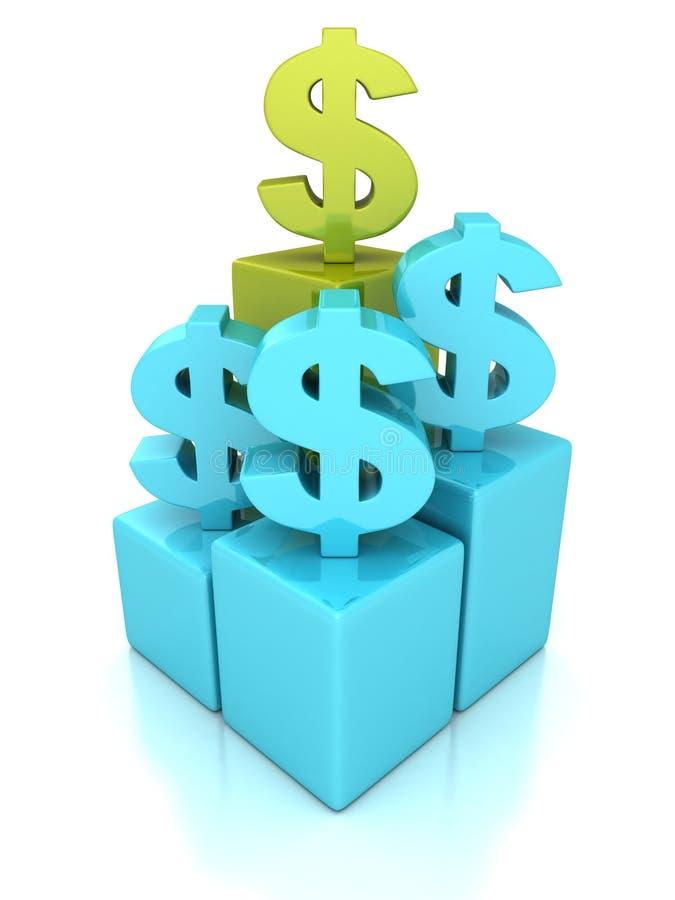 Zielonego pojęcia waluty dolarowy symbol na odgórnym tempo barze royalty ilustracja