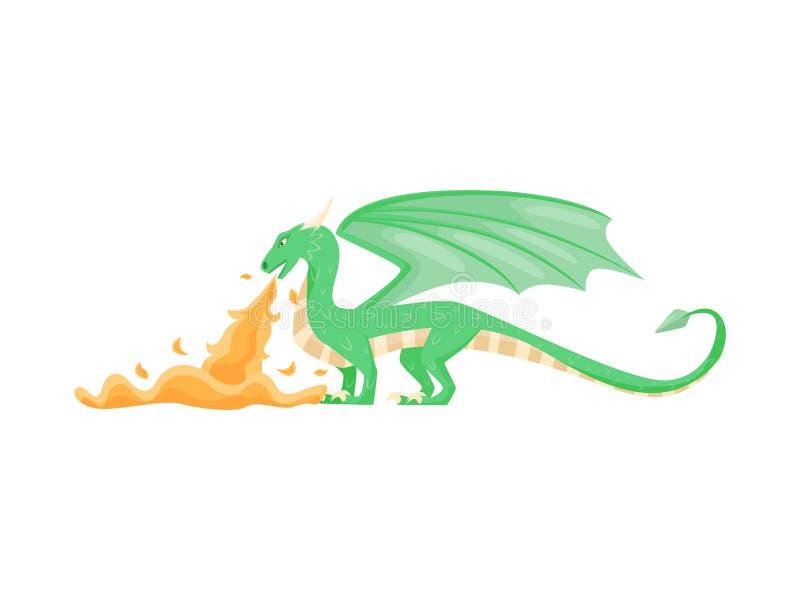 Zielonego smoka oddychania ogień, boczny widok Fantastyczny zwierzę z ampuł skrzydłami, rogami i długim ogonem, Płaski wektorowy  ilustracja wektor
