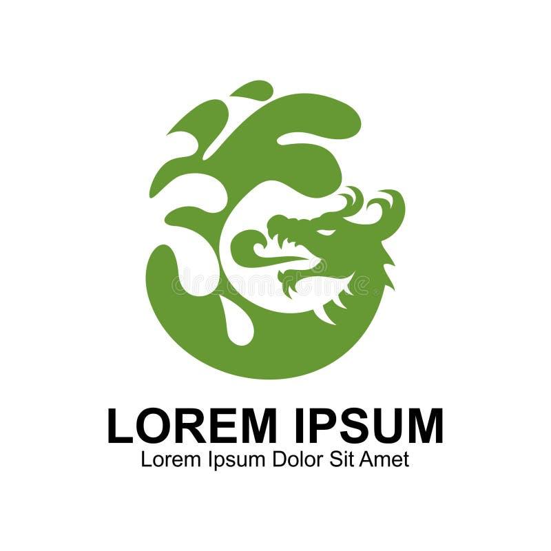 Zielonego smoka wody logo royalty ilustracja