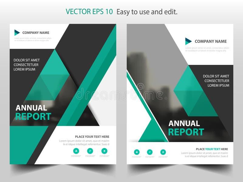 Zielonego trójboka broszurki sprawozdania rocznego ulotki ulotki szablonu Wektorowy projekt, książkowej pokrywy układu projekt, ilustracja wektor