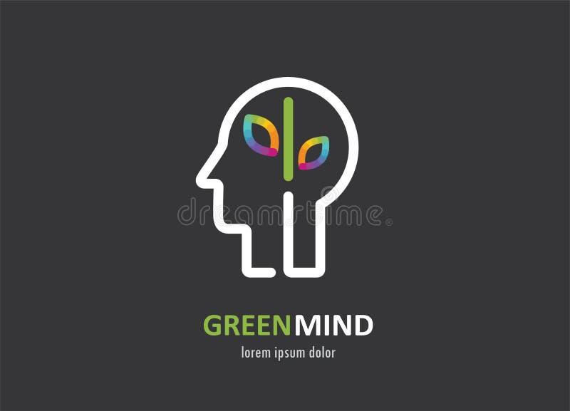Zielonego umysłu abstrakcjonistyczna kolorowa ikona ludzka głowa, móżdżkowy symbol ilustracja wektor