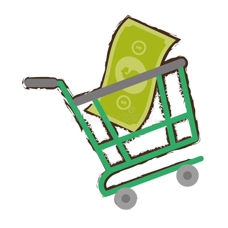 Zielonego wózek na zakupy rachunku pieniądze online nakreślenie ilustracji
