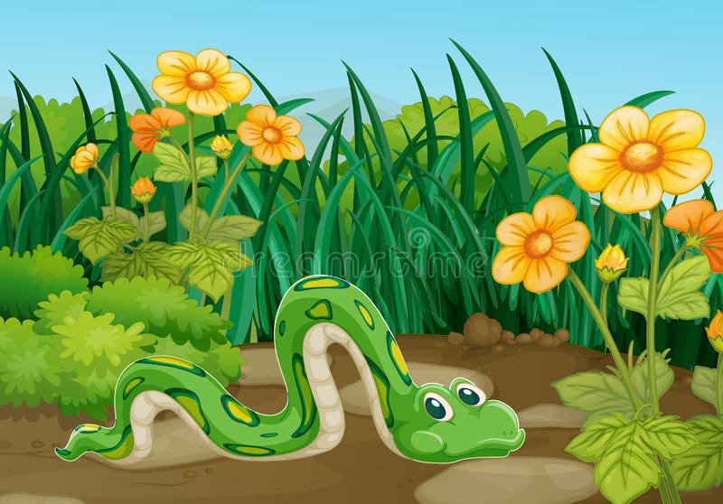 Zielonego węża czołganie w ogródzie ilustracji