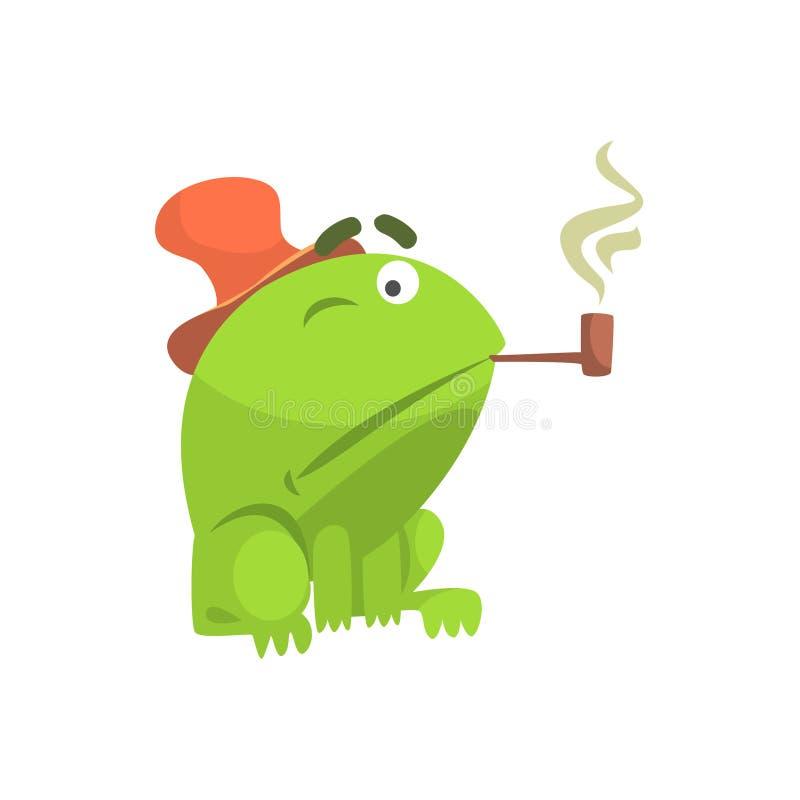 Zielonej żaby charakteru dymienia drymby kreskówki Śmieszna Dziecięca ilustracja royalty ilustracja