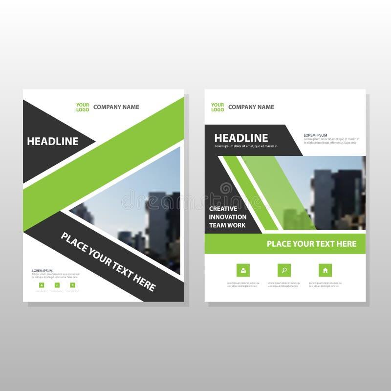 Zielonej czarnej etykietki sprawozdania rocznego ulotki broszurki ulotki szablonu Wektorowy projekt, książkowej pokrywy układu pr royalty ilustracja
